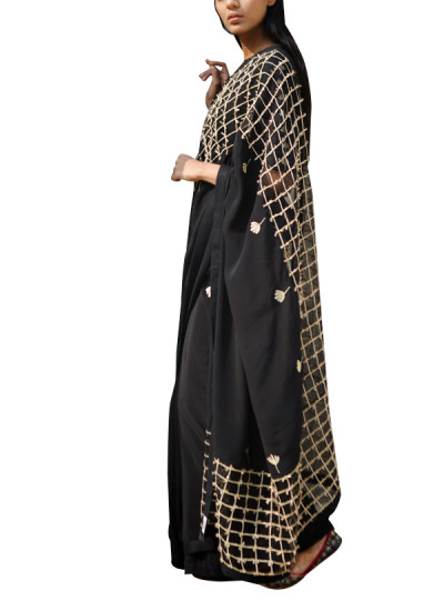 Indian Fashion Designers - Kanelle - Contemporary Indian Designer - Black Embroidered Zari Saree - KAN-AW16-KAN-AP-16IF27