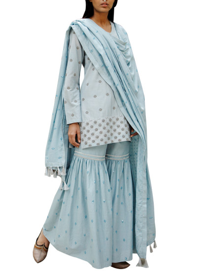 Indian Fashion Designers - Kanelle - Contemporary Indian Designer - Lovely Light Blue Sharara - KAN-AW16-KAN-AP-16IF28