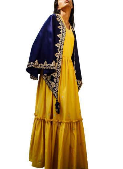 Indian Fashion Designers - Kanelle - Contemporary Indian Designer - Yellow and Navy Blue Long Dress - KAN-AW16-KAN-AP-16IF29