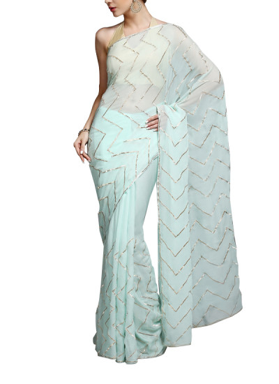 Indian Fashion Designers - Kyra - Contemporary Indian Designer - Zig-Zagged Saree - KYA-AW16-KA015