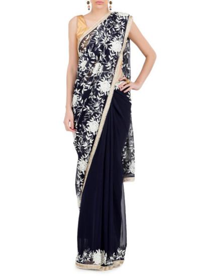 Indian Fashion Designers - Kyra - Contemporary Indian Designer - Midnight Beauty Saree - KYA-AW16-KB027