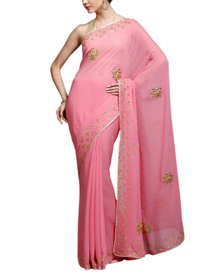 Indian Fashion Designers - Kyra - Contemporary Indian Designer - Drops of Gold Saree - KYA-AW16-KP017