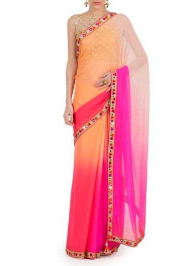 Indian Fashion Designers - Kyra - Contemporary Indian Designer - Mirror Overload Saree - KYA-AW16-KP023