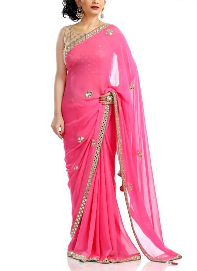 Indian Fashion Designers - Kyra - Contemporary Indian Designer - Pink Mirror Saree - KYA-AW16-KP033