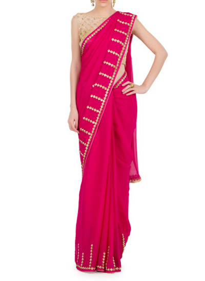 Indian Fashion Designers - Kyra - Contemporary Indian Designer - Vertical Bling Saree - KYA-AW16-KR029