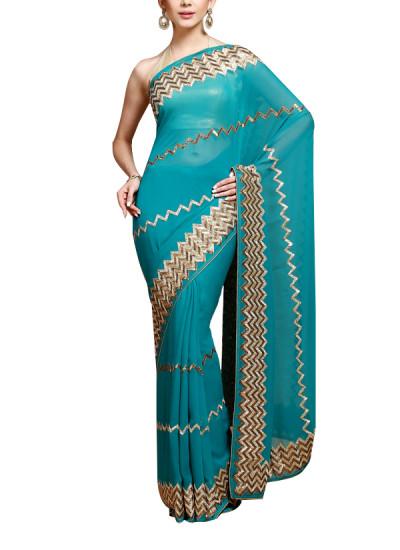 Indian Fashion Designers - Kyra - Contemporary Indian Designer - ZigZag Panache Saree - KYA-AW16-KT004