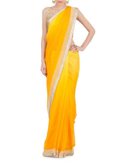 Indian Fashion Designers - Kyra - Contemporary Indian Designer - Sunny Side-up Saree - KYA-AW16-KY025