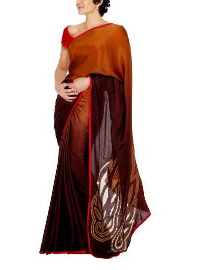 Indian Fashion Designers - Mandira Bedi - Contemporary Indian Designer - Bronze Shaded Saree - MBI-AW15-CWSHD-001