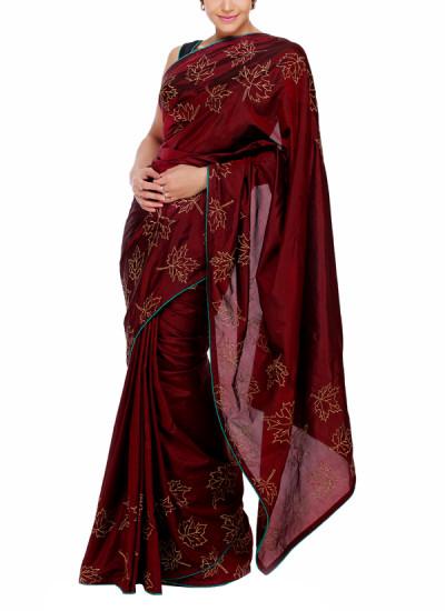 Indian Fashion Designers - Mandira Bedi - Contemporary Indian Designer - Maple Leaf Motif Maroon Saree - MBI-AW15-FBBLEAF-002