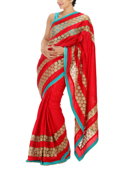 Indian Fashion Designers - Mandira Bedi - Contemporary Indian Designer - Red and Gold Treasure Panel Saree - MBI-AW15-FBDSTNET-007