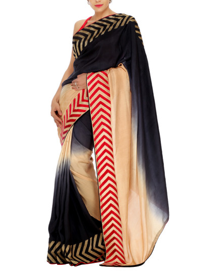 Indian Fashion Designers - Mandira Bedi - Contemporary Indian Designer - Shaded Beige to Black Saree - MBI-AW15-FBEMB-007