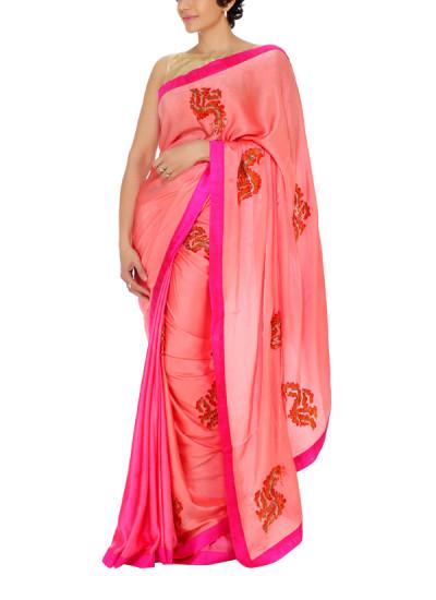 Indian Fashion Designers - Mandira Bedi - Contemporary Indian Designer - Pink to Peach Half Half Saree - MBI-AW15-HHEMB-001