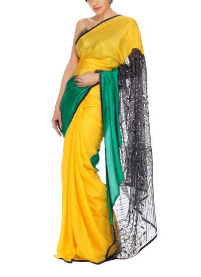 Indian Fashion Designers - Mandira Bedi - Contemporary Indian Designer - Yellow and Green Silk Saree - MBI-AW15-HHEMB-004