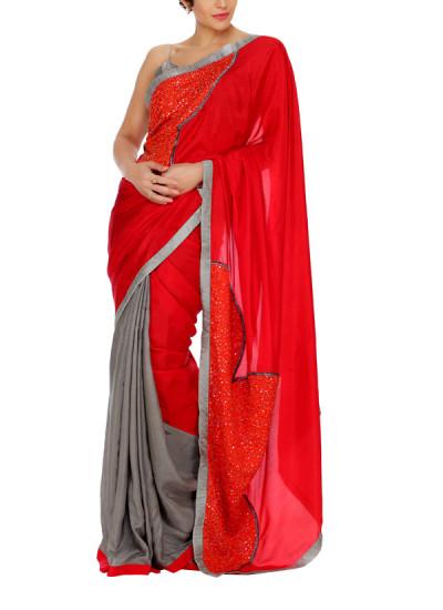Indian Fashion Designers - Mandira Bedi - Contemporary Indian Designer - Red Pallu Grey Saree - MBI-AW15-HHEMB-006