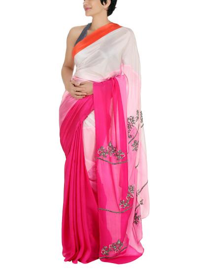 Indian Fashion Designers - Mandira Bedi - Contemporary Indian Designer - Shaded Pink Paneled Saree - MBI-AW15-HHSTP-002