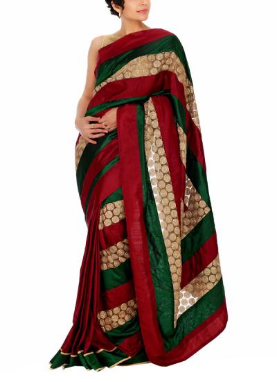 Indian Fashion Designers - Mandira Bedi - Contemporary Indian Designer - Maroon and Emerald Green Treasure Saree - MBI-AW15-HHUSTP-007
