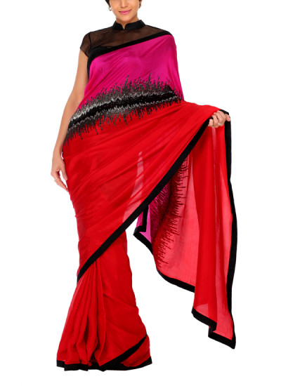 Indian Fashion Designers - Mandira Bedi - Contemporary Indian Designer - Embroidered Graphic Lines Saree in Red - MBI-AW15-OSWEMB-001