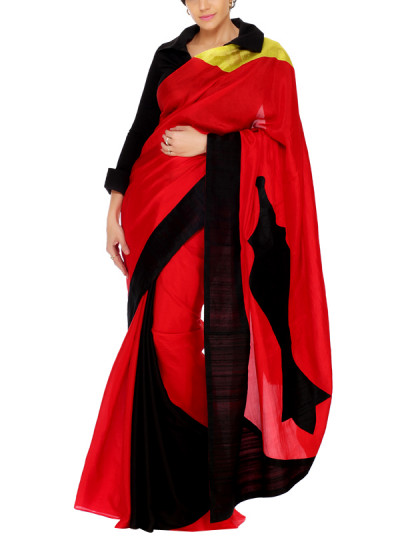 Indian Fashion Designers - Mandira Bedi - Contemporary Indian Designer - Red and Black Saree with Patchwork - MBI-AW15-OTPW-001