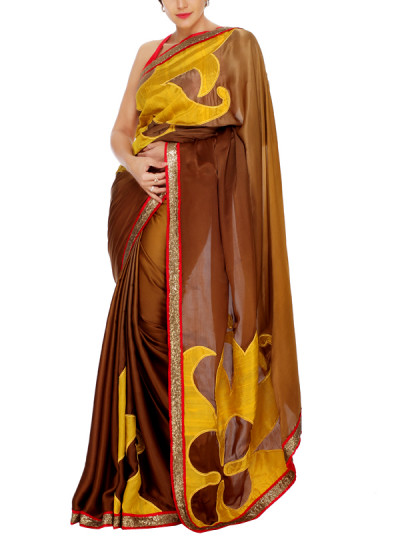 Indian Fashion Designers - Mandira Bedi - Contemporary Indian Designer - Gold and Brown Shaded Saree - MBI-AW15-PWLOGO-003