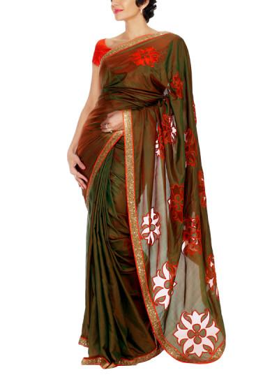 Indian Fashion Designers - Mandira Bedi - Contemporary Indian Designer - Green and Orange Saree - MBI-AW15-SPLOGO-001