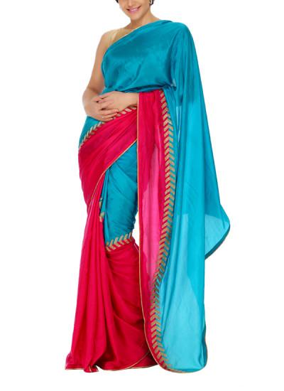 Indian Fashion Designers - Mandira Bedi - Contemporary Indian Designer - Teal and Pink Triangle Saree - MBI-AW15-TREMB-001