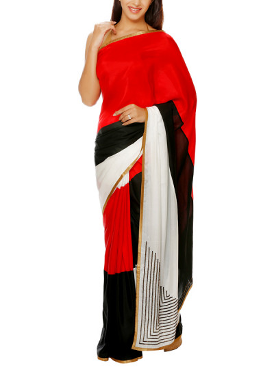 Indian Fashion Designers - Mandira Bedi - Contemporary Indian Designer - Saree with Antique Gold Hand Embroidery - MBI-AW16-CJEMB-001