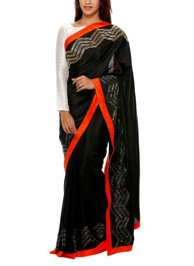 Indian Fashion Designers - Mandira Bedi - Contemporary Indian Designer - Black Silk Saree with Golden Embroidery - MBI-AW16-FBEMB-008