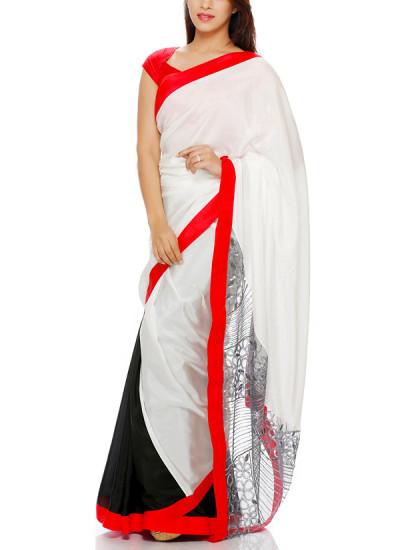 Indian Fashion Designers - Mandira Bedi - Contemporary Indian Designer - Black Silk Saree with Hand Embroidery - MBI-AW16-HHEMB-002
