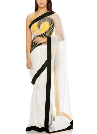 Indian Fashion Designers - Mandira Bedi - Contemporary Indian Designer - White Paisley Motif Saree - MBI-AW16-HHEMB-003