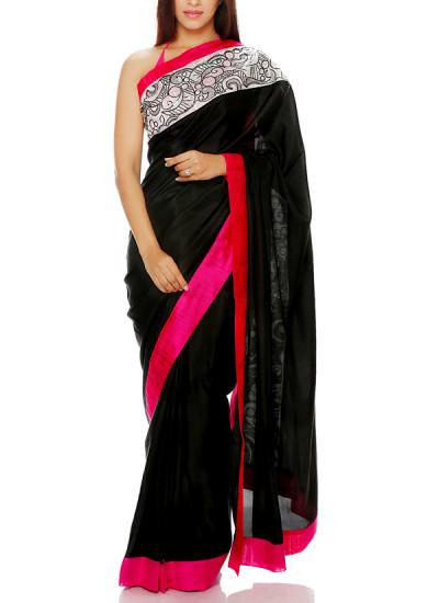 Indian Fashion Designers - Mandira Bedi - Contemporary Indian Designer - Black Saree with Pink Border - MBI-AW16-OSWEMB-002