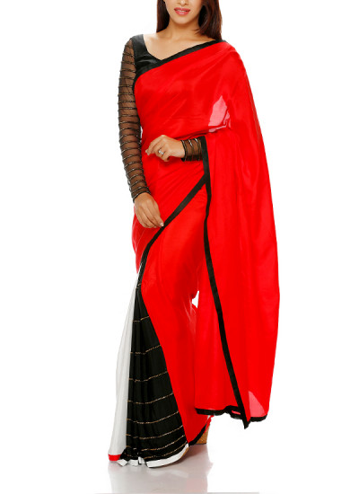 Indian Fashion Designers - Mandira Bedi - Contemporary Indian Designer - Red and Black Embroidered Saree - MBI-AW16-OTEMB-004