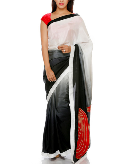 Indian Fashion Designers - Mandira Bedi - Contemporary Indian Designer - White to Black Shaded Saree - MBI-AW16-PWSHD-021