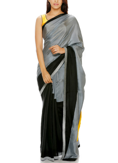 Indian Fashion Designers - Mandira Bedi - Contemporary Indian Designer - Grey and Black Triangle Saree - MBI-AW16-TREMB-002