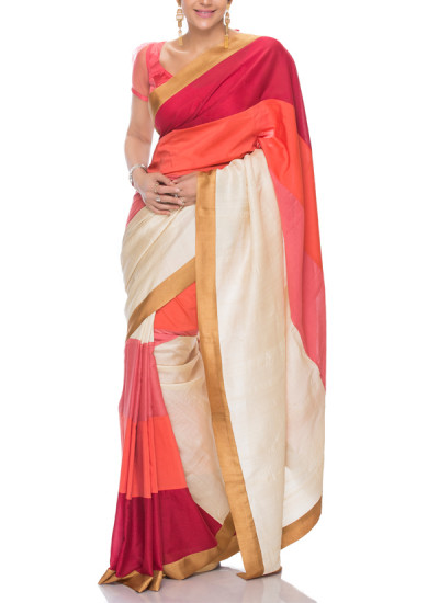 Indian Fashion Designers - Mandira Bedi - Contemporary Indian Designer - Pink Peach And Maroon Stripe Saree - MBI-SS17-CBSTP-001