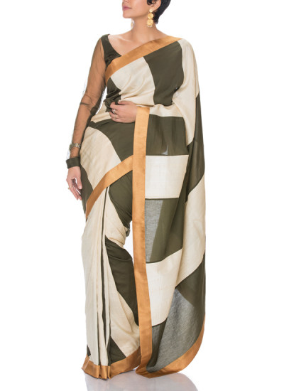 Indian Fashion Designers - Mandira Bedi - Contemporary Indian Designer - Olive Green and Off White Stripe Saree - MBI-SS17-HHSTP-008