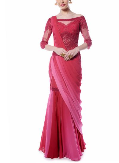 Indian Fashion Designers - Mandira Wirk - Contemporary Indian Designer - Deep Red and Pink Drape Saree - MW-AW16-FF-MW-002