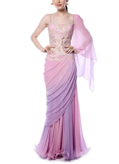 Indian Fashion Designers - Mandira Wirk - Contemporary Indian Designer - Lilac and Pink Drape Saree - MW-AW16-FF-MW-003