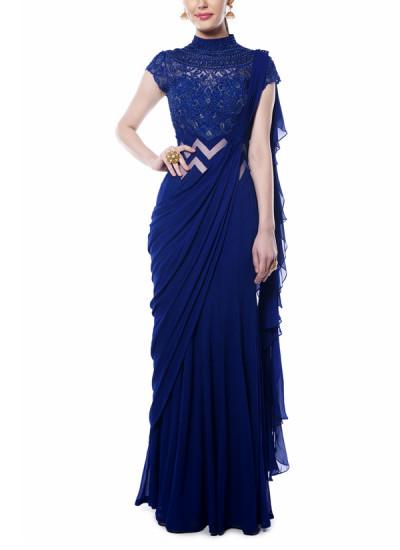Indian Fashion Designers - Mandira Wirk - Contemporary Indian Designer - Indigo Blue Drape Saree - MW-AW16-FF-MW-004