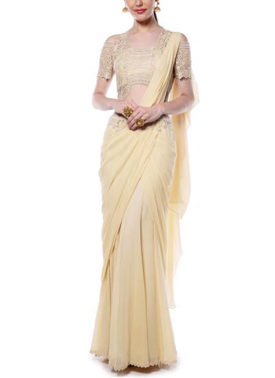 Indian Fashion Designers - Mandira Wirk - Contemporary Indian Designer - Light Yellow Drape Saree - MW-AW16-FF-MW-010