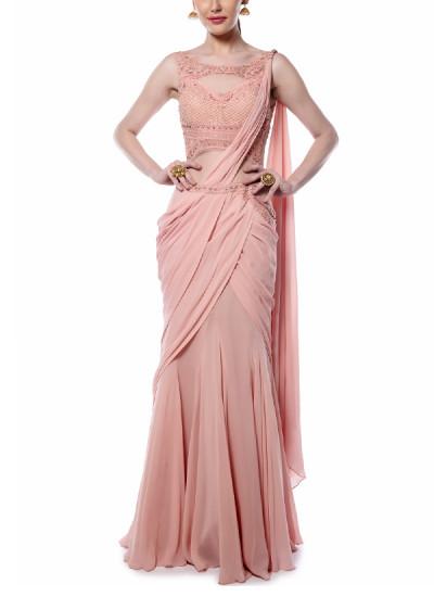 Indian Fashion Designers - Mandira Wirk - Contemporary Indian Designer - Light Pink Drape Saree - MW-AW16-FF-MW-011