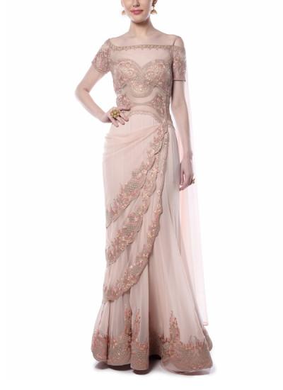 Indian Fashion Designers - Mandira Wirk - Contemporary Indian Designer - Enchanting Light Pink Saree - MW-AW16-FF-MW-015