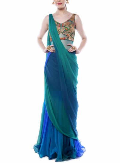 Indian Fashion Designers - Mandira Wirk - Contemporary Indian Designer - Teal Green and Blue Drape Saree - MW-AW16-FF-MW-016