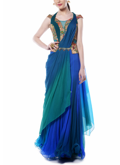 Indian Fashion Designers - Mandira Wirk - Contemporary Indian Designer - Distinct Drape Saree - MW-AW16-FF-MW-018