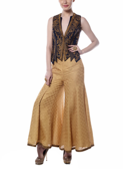 Indian Fashion Designers - Mandira Wirk - Contemporary Indian Designer - Stylish Black and Beige Jacket Set - MW-AW16-FF-MW-024-024A