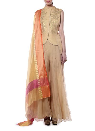 Indian Fashion Designers - Mandira Wirk - Contemporary Indian Designer - Elegant Beige Jacket Set - MW-AW16-FF-MW-032-032A