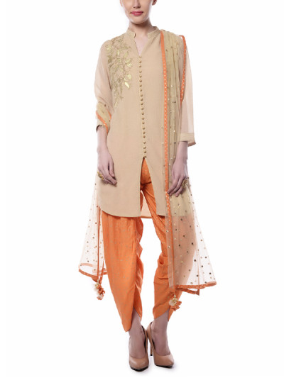 Indian Fashion Designers - Mandira Wirk - Contemporary Indian Designer - Beige and Orange Suit - MW-AW16-FF-MW-033