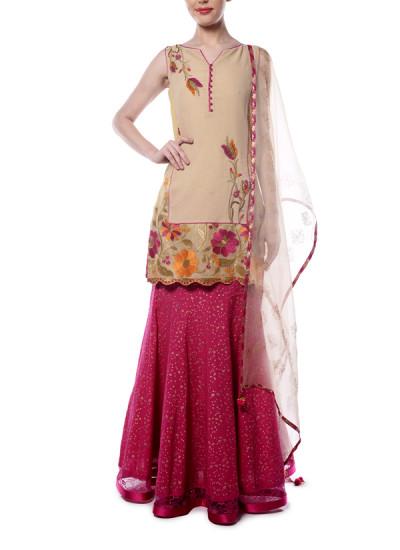 Indian Fashion Designers - Mandira Wirk - Contemporary Indian Designer - Beige and Pink Sharara Set - MW-AW16-FF-MW-036