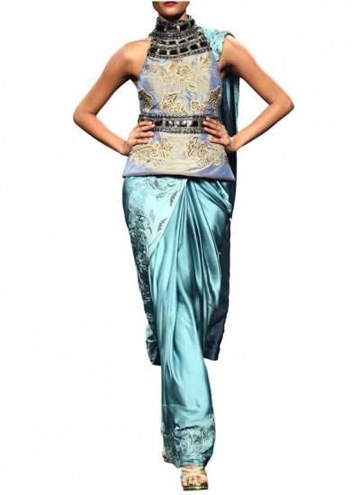 Indian Fashion Designers - Narendra Kumar - Contemporary Indian Designer - Sky Blue Satin Saree - NK-SS13-B-PDF-6-2