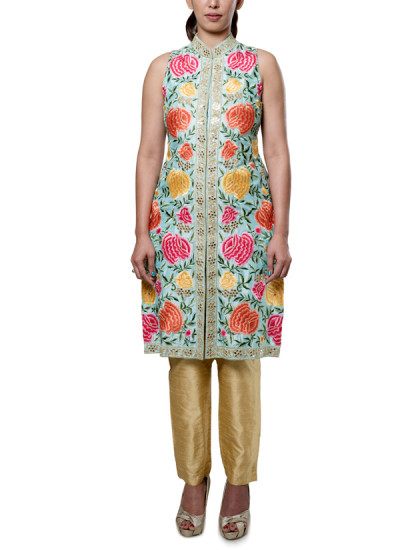 Indian Fashion Designers - Neha Gursahani - Contemporary Indian Designer - Sky Blue Embroidered Suit - NG-AW16-MA-04