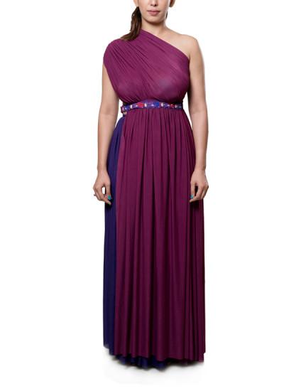 Indian Fashion Designers - Neha Gursahani - Contemporary Indian Designer - Plum Asymmetrical Tunic Set - NG-AW16-MA-07